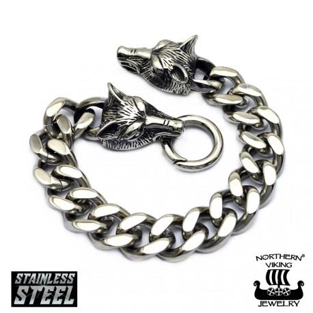 "Northern Viking Jewelry®-Rannekoru ""Steel Chain Wolf Head"""